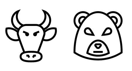bullish market: Stock Market Bulls and Bears Thin Line Icon. Flat icon isolated on the white background.