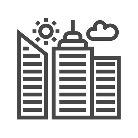 multi storey: City Building Thin Line Icon. Flat icon isolated on the white background.