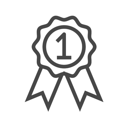 Badge with Ribbons Thin Line Vector Icon. Flat icon isolated on the white background. Editable EPS file. Vector illustration.