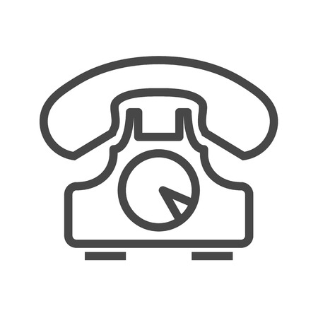 old phone: Vintage Phone Thin Line Vector Icon. Flat icon isolated on the white background. Editable EPS file. Vector illustration.