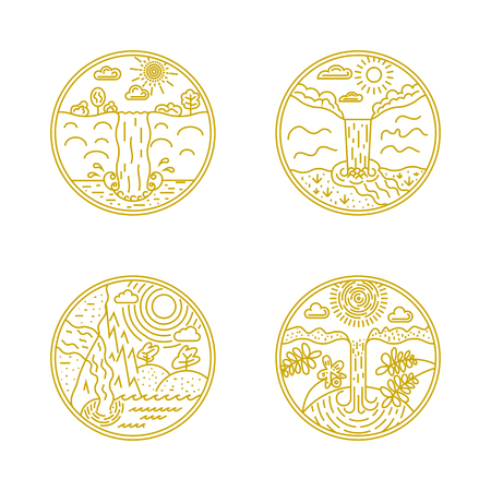 Set of Waterfall linear labels. Logotype templates and badges with mountains, waterfall, cloud, trees, water, sun. National parks and nature exploration symbols