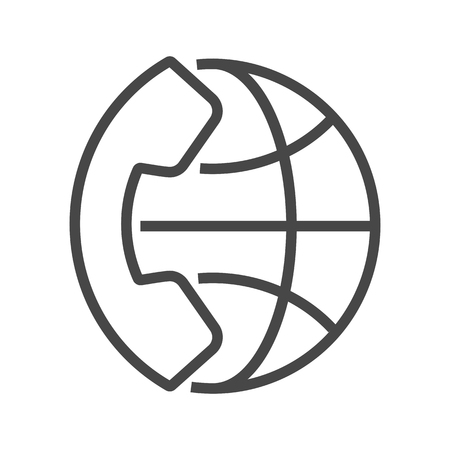 International Call Thin Line Vector Icon. Flat icon isolated on the white background.