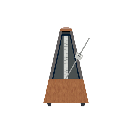 reloj de pendulo: Metronome Flat Icon Isolated on the White Background. Vectores