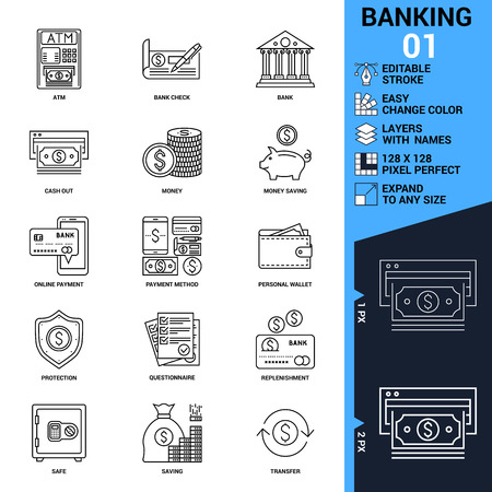 Banking icons set. Thin Line Vector Illustration - Adjust stroke weight - Expand to any Size - Easy Change Colour - Editable Stroke - Layers with Names - Pixel Perfect