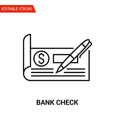 any size: Bank Check Icon. Thin Line Vector Illustration - Adjust stroke weight - Expand to any Size - Easy Change Colour - Editable Stroke - Pixel Perfect