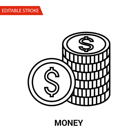 any size: Money Icon. Thin Line Vector Illustration - Adjust stroke weight - Expand to any Size - Easy Change Colour - Editable Stroke - Pixel Perfect