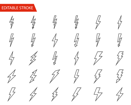 Lightning Vector Icons Set. Thin Line Vector Illustration. Adjust stroke weight - Expand to any Size - Easy Change Colour - Editable Stroke Illustration