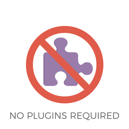 No Plugins Required Icon Vector. Isolated on White Background. Trendy Flat Style.