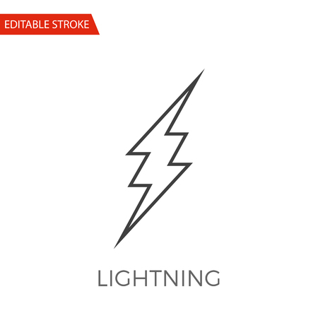 Lightning Vector Icon. Thin Line Vector Illustration. Adjust stroke weight - Expand to any Size - Easy Change Colour - Editable Stroke Illustration