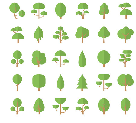 Set Flat Trees in a Flat Design. Isolated on White Background. Vector Icons.