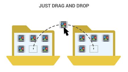 Drag and Drop Trendy Flat Vector Illustration. Vettoriali