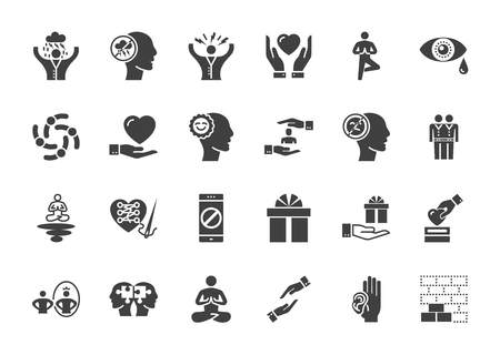 Conscious living and friends relations. Glyph related icons set on white background. Simple black pictogram pack vector icon concept for web.