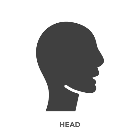 Head Glyph Vector Icon Isolated on the White Background. Stock Illustratie