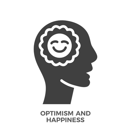 Optimism and Happiness Glyph Vector Icon Isolated on the White Background.