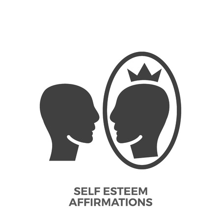 Self Esteem Affirmations Glyph Vector Icon Isolated on the White Background.