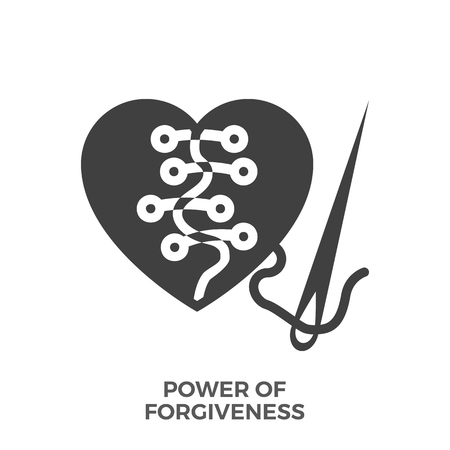 Power of forgiveness glyph vector icon, isolated on the white background.