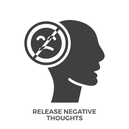 Release Negative Thoughts Glyph Vector Icon, Isolated on the White Background.