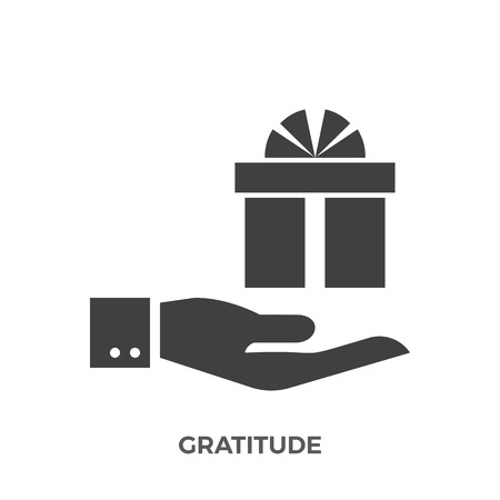Gratitude glyph vector icon isolated on white background.