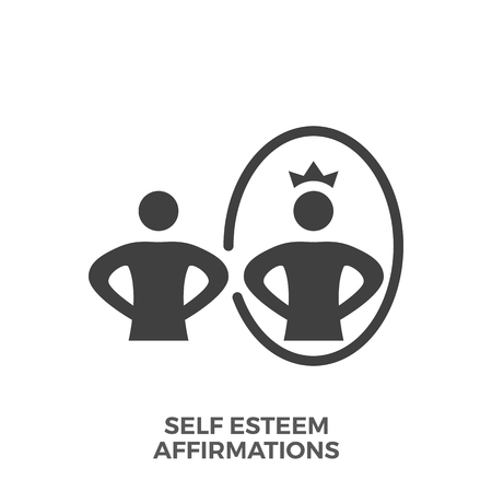 Self esteem affirmations glyph vector icon isolated on white background. 일러스트