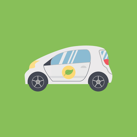 Biofuel Car. Green energy. Alternative Environmental Friendly Fuel. Isolated on Green Background. Trendy Flat Style.