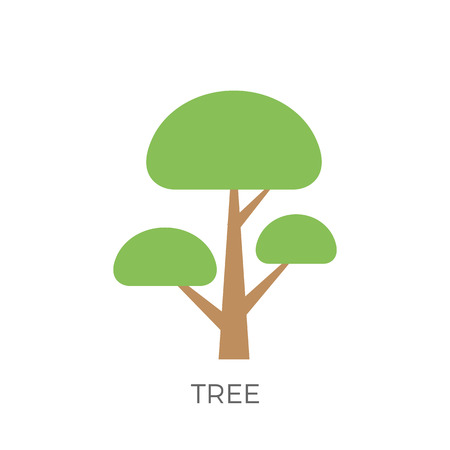 Tree in a Flat Design. Isolated on White Background. Vector Icon. Illustration