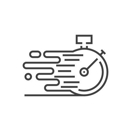 Pictogram voor snelle service. Snelle levering op tijd. Stopwatch in beweging, Deadline Concept, kloksnelheid. Dunne lijn vectorillustratie. Lijndikte aanpassen - Uitbreiden tot elke grootte - Gemakkelijk van kleur veranderen Vector Illustratie