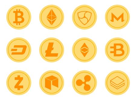 Crypto Coins Vector Icons Set. Cryptocurrency Logo Set - Bitcoin, Litecoin, Ethereum, Ethereum Classic, Monero, Ripple, Zcash Dash, Stratis, Bytecoin, NEO, NEM.