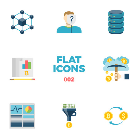 Cryptocurrency and Blockchain Related Flat Icons. Crypto Icon Set. Blockchain, Anonymous, Server, Ledger, Cloud Mining, Hash Rate, Converting, Cryptocurrency Exchange Isolated on White Background