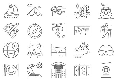 Travel Icon Set. Travel Related Vector Line Icon Set. Isolated on White Background. Editable Stroke. Ilustrace