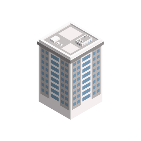 Vector Isometric City Building. Vector Isometric City Building Icon Isolated on White Background. Private House, Real Estate, Public Building, Hotel.