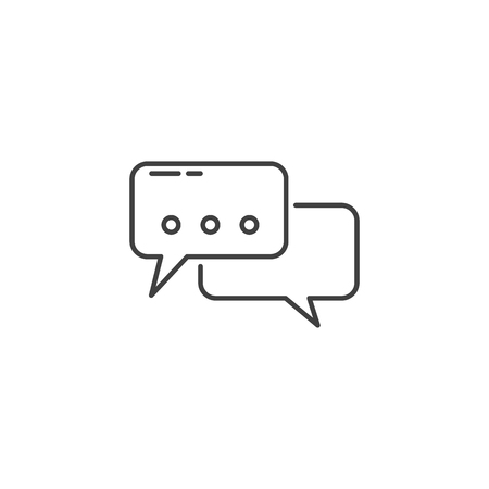 Speech Bubble Related Vector Line Icon. Isolated on White Background. Editable Stroke. Иллюстрация