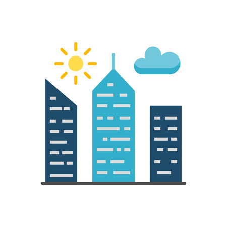 City Building Flat Vector Icon 向量圖像