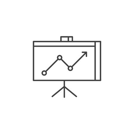Präsentationssymbol. Präsentation im Zusammenhang mit Vektor Symbol Leitung. Isoliert auf weißem Hintergrund. Bearbeitbarer Strich.d.