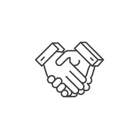 Icono de línea de vectores relacionados con apretón de manos.