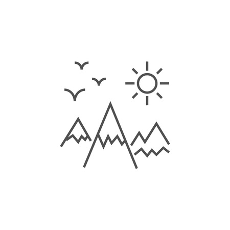 Mountains Landscape Related Vector Line Icon.