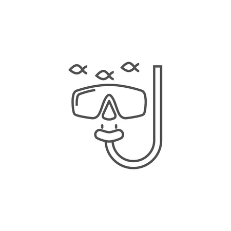 Snorkeling Icon. Snorkeling Related Vector Line Icon. Isolated on White Background. Editable Stroke.