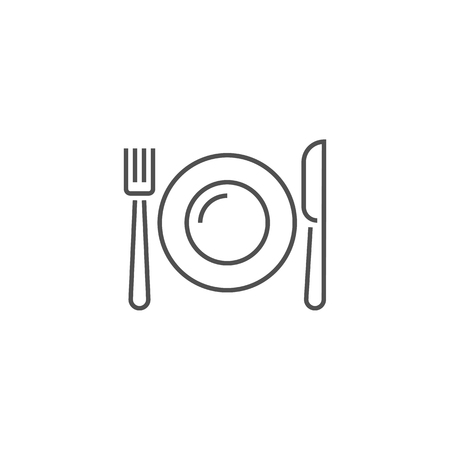Plate, Fork and Knife Related Vector Line Icon. 写真素材 - 119629838
