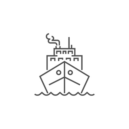 Cruise Ship Icon. Cruise Ship Related Vector Line Icon. Isolated on White Background. Editable Stroke.