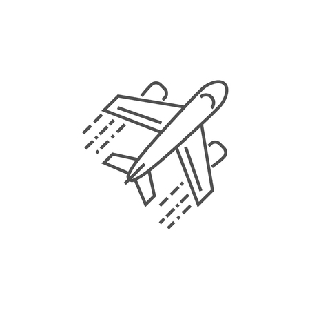 Airplane Icon. Airplane Related Vector Line Icon. Isolated on White Background. Editable Stroke.