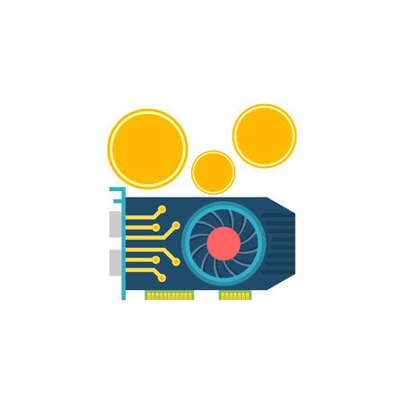 GPU Mining. GPU Mining Vector Flat Icon Isolated on White Background