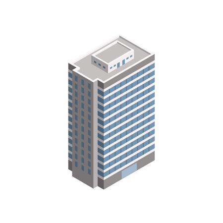 Vector Isometric Skyscraper City Building. Vector Isometric City Building Icon Isolated on White Background. Private House, Skyscraper, Real Estate, Public Building, Hotel.