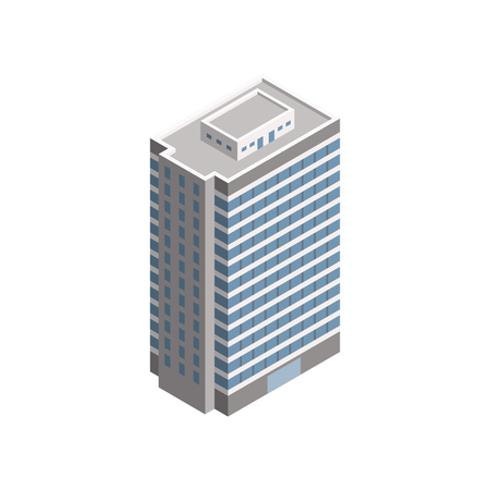 Vector Isometric Skyscraper City Building. Vector Isometric City Building Icon Isolated on White Background. Private House, Skyscraper, Real Estate, Public Building, Hotel.
