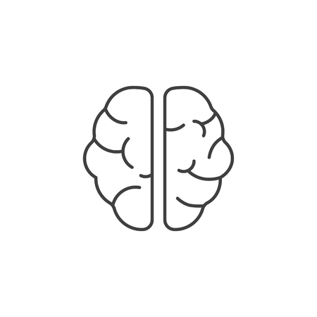 Brain Related Vector Line Icon. Isolated on White Background. Editable Stroke. Illustration