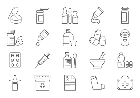 Set of Drugs Related Vector Line Icons. Contains such Icons as Pills, Spray, Syringe, First Aid, Gel, Recipe, Syrup, Pills Tube, Tooth Paste, Capsule, Vitamin, Inhaler, Eye Drops. Editable Stroke. Stock Illustratie