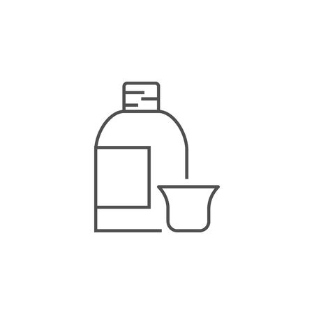 Syrup Related Vector Line Icon. Drugs. Isolated on White Background. Editable Stroke.