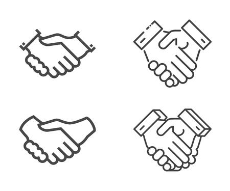 Set of Handshake Vector icons. Isolated on White Background.