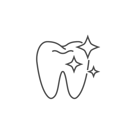 Tooth Clean Line Icon. Tooth Clean Line Related Vector Line Icon. Isolated on White Background. Editable Stroke. 矢量图像