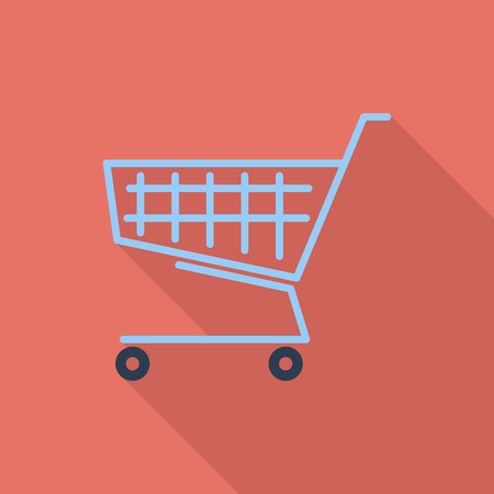 Cart icon. Flat vector related icon with long shadow for web and mobile applications. It can be used as - logo, pictogram, icon, infographic element. Vector Illustration. Ilustração