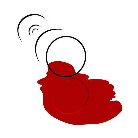 Spilled Wine Glass. Vector illustration.