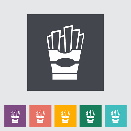 French fries. Single flat icon on the button. Vector illustration.